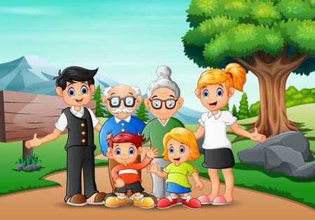 Felices vacaciones de miembros de la familia en el parque