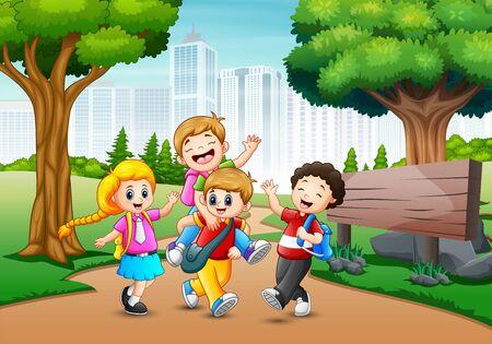Happy children walking pass through in park city Ilustração