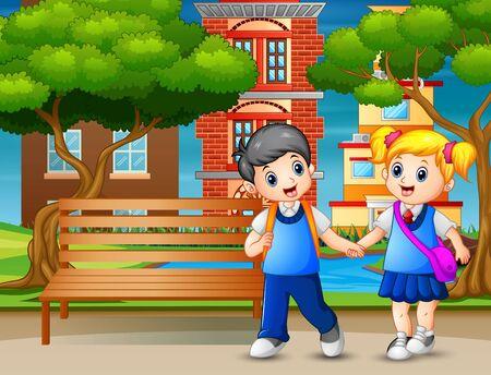 Happy school children walking pass through in park Ilustração