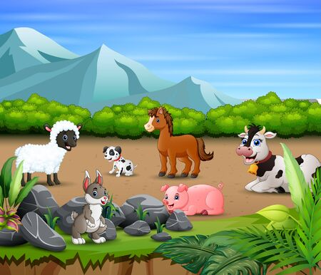 Animal farm relaxing in the nature