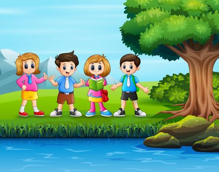 School children hanging out in nature