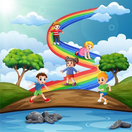 Cartoon kids playing above the rainbow