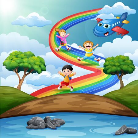 Children playing over the rainbow