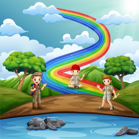 The scout boys with rainbow scene on nature