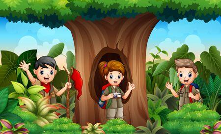 The explorer children in the jungle