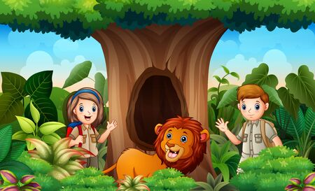 Zookeepers and lion under the hollow tree