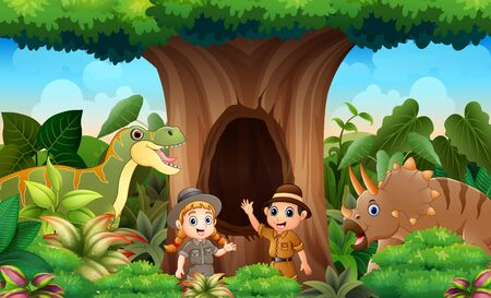 Zookeepers and animals in the jungle
