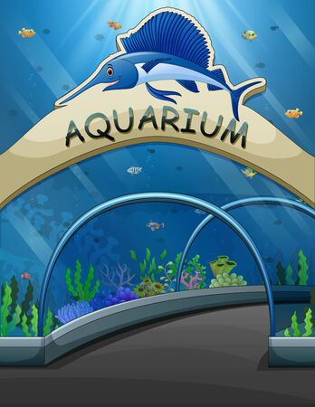 Big aquarium entrance with lives underwater illustration 矢量图像