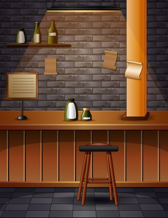 The interior of the bar cafe pub with brick walls