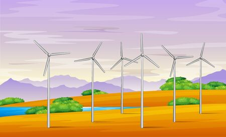 Illustration of Windmill tower in the landscape