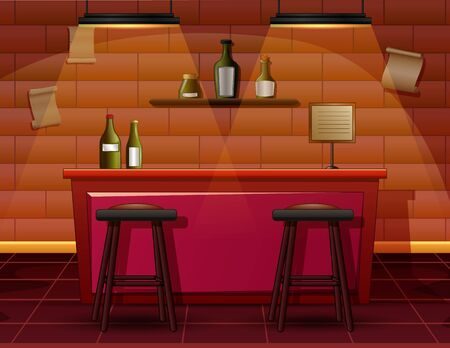 The interior of the bar cafe illustration
