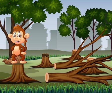 Deforestation scene with monkey and timber illustration Vektorgrafik