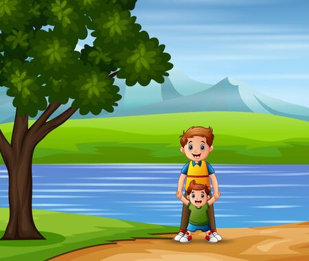 A father and son taking a walk down by the lake