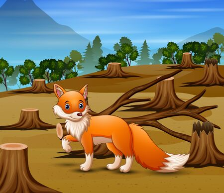 Deforestation scene with starving fox 일러스트