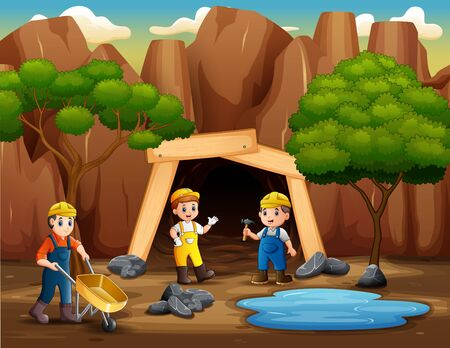 The miners working outside the mine Illustration