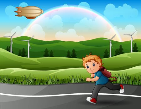 A boy is running to school Vectores