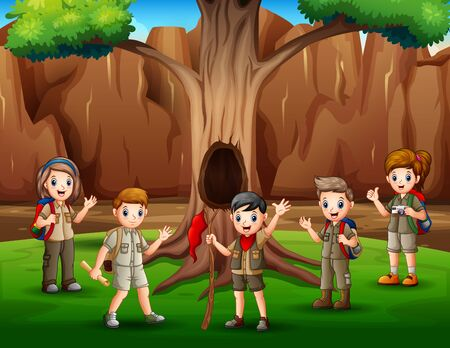 Scene with many kids in scout uniform hiking illustration Vektoros illusztráció