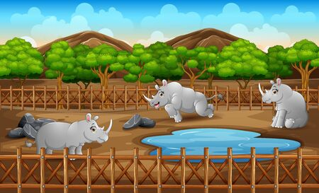 Scene with many rhinos living in the zoo