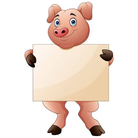 Cartoon pig holding blank sign with both hands Illustration