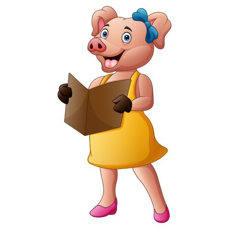 Lady pig in clothes reading a book