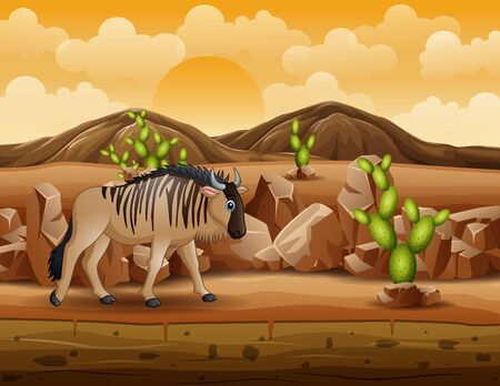Cartoon wildebeest walks through the desert