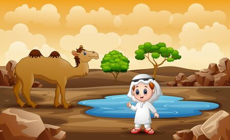 Arabian boy and camel by the small pond Vectores