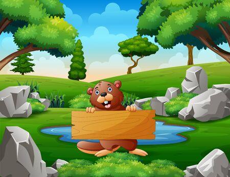 A beaver holding wooden sign near the small pond Векторная Иллюстрация