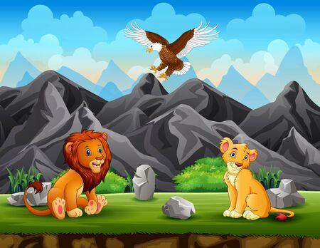 Deux lions et aigle profitant de la nature
