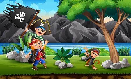 Pirates cartoon on the hill 向量圖像
