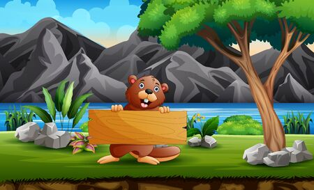 A beaver holding a wooden sign in nature background
