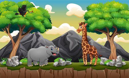 Cartoon a wild animals at mountain cliff