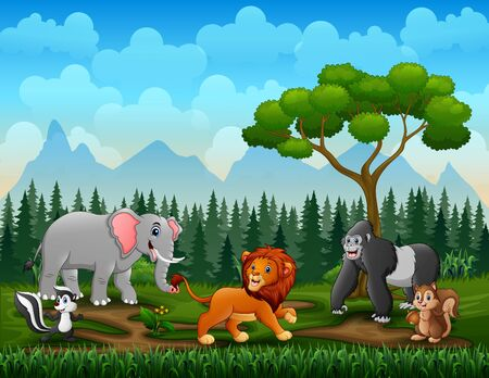 Different kind of animals in the park illustration