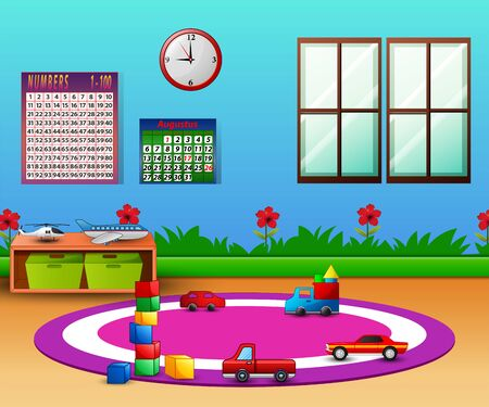 Empty kindergarten room with furniture and toys for young children