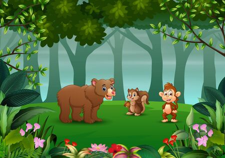 Wild animals living in the jungle