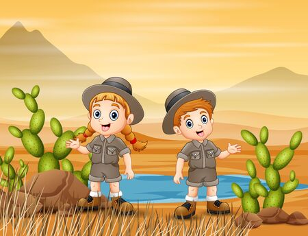 The scouts are exploring in desert field