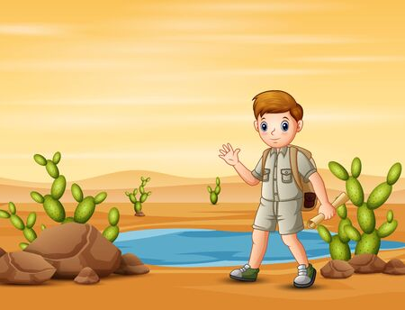 The scout boy hiking in desert field with maps