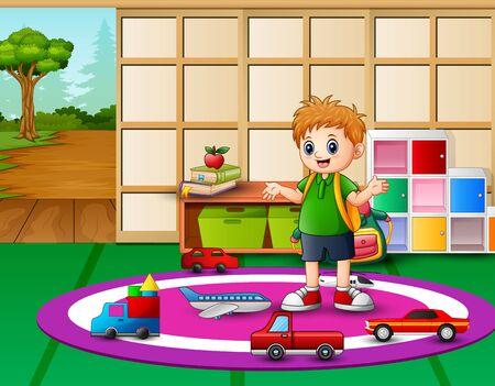Little boy play in the kindergarten