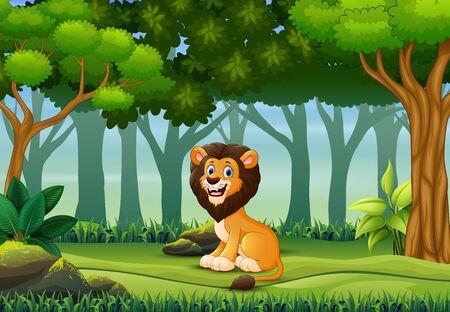 Un león disfrutando en el bosque.
