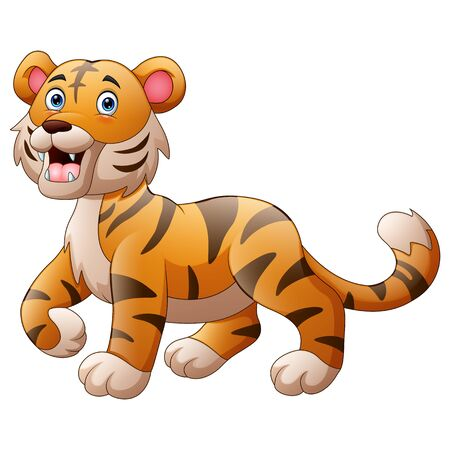 Cute tiger cartoon roaring Vector Illustratie