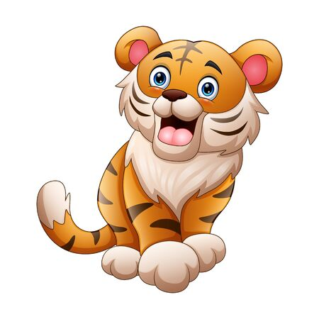A tiger cartoon roaring isolated on white background