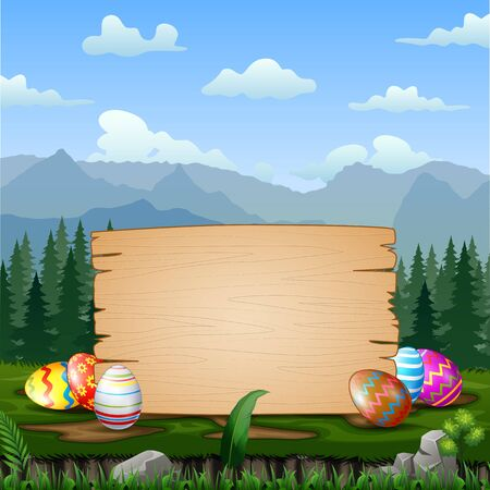Easter eggs with blank sign in the middle of nature Stock Illustratie