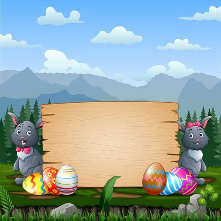Happy Easter bunnies with Easter eggs by a wood sign board Stockfoto - 144940259