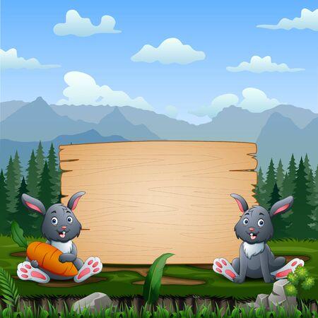 Happy bunnies sitting near wooden sign Stock Illustratie