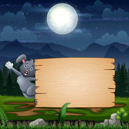 Easter bunny with blank sign at night landscape Stockfoto - 144940262