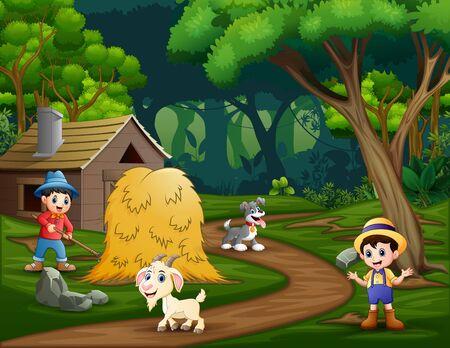 The farmers working in the farmland 矢量图像