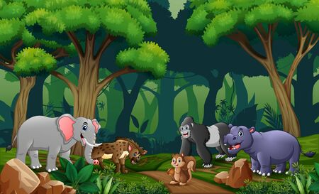 Scene with many animals in the forest Illustration