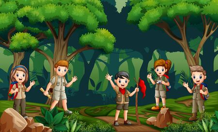 A group of scouts hiking in the forest
