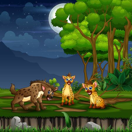 Three hyena cartoon at the forest landscape