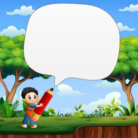 Speech bubble template with kid boy holding big pencil Ilustración de vector