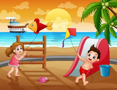 Funny children playing kite on summer holiday Illustration